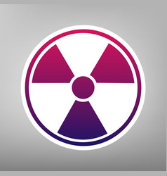 Radiation round sign purple gradient icon vector
