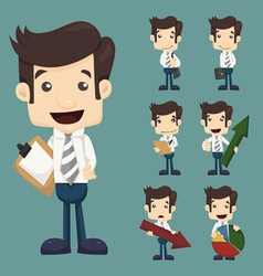 Set of businessman characters poses with charts vector
