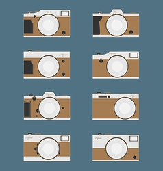 Set of vintage camera flat design vector