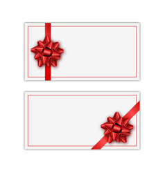 set of white holiday gift card with red ribbon and vector image vector image