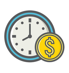 Time is money filled outline icon business vector
