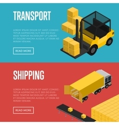 Transport and shipping isometric banners set vector