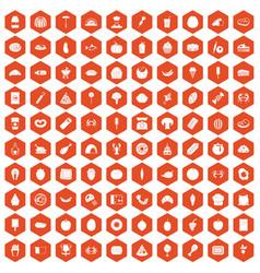 100 favorite food icons hexagon orange vector