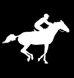 Racing horse and jockey silhouette vector