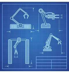 Robot arms blueprint machine industrial robotic vector image