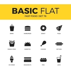 Basic set of fast food icons vector