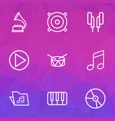 Audio outlines set collection of circle melody vector