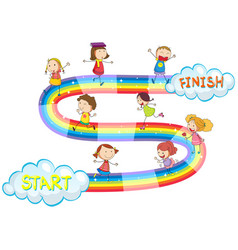 Game template with many kids on rainbow vector