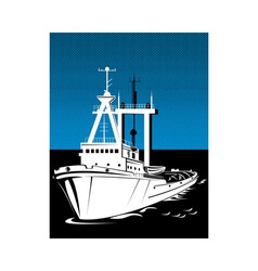 tug boat at sea vector image