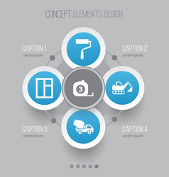 architecture icons set collection of cement vector image