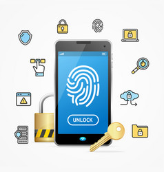 data security and safe concept mobile phone app vector image