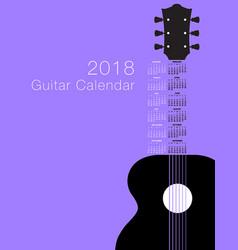 2018 guitar musical calendar vector