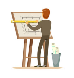 Architect working on his project on a drawing vector