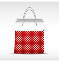 Vintage shopping bag in retro polka dots vector