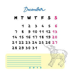 2015 december sheep vector image vector image
