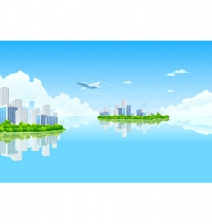 Business city island vector