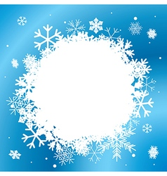 Blue winter background with white snowflakes vector