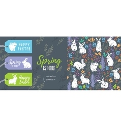 Spring collection set of easter tags and seamless vector