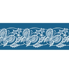 Abstract ribbon lace with flowers and butterflies vector image