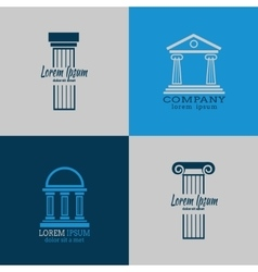 Architectural logo templates with columns vector