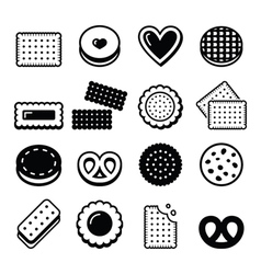 Biscuit cookie - food icons set vector