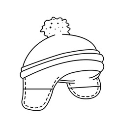 black and white woolen hat vector image vector image