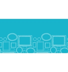 Blue blank picture frames horizontal seamless vector image