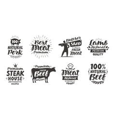 Butcher shop labels Meat beef pork lamb set vector image