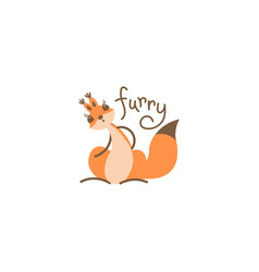 cartoon cute squirrel little funny print vector image vector image