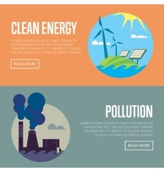 Clean energy and air pollution banners vector