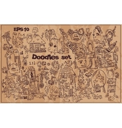 Collection of funny hand drawn doodles vector image