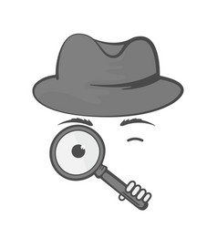 Detective in a hat with a magnifying glass spy vector