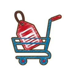 Drawing shopping cart online price tag vector