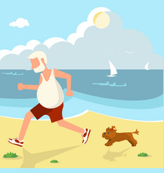 Elderly man jogging vector