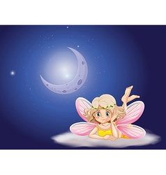 Fairy on cloud at night time vector image