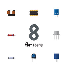 Flat electronics set of transistor microprocessor vector
