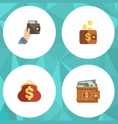 flat icon purse set of purse money saving and vector image vector image