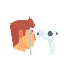 Male patient doing eye test in eyesight vector