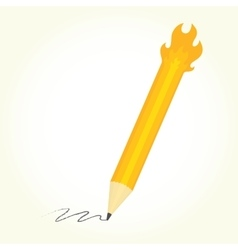 Pencil is on fire isolated vector