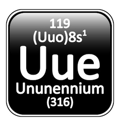 Periodic table element ununennium icon vector