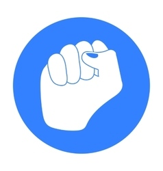 Raised fist icon in black style isolated on white vector