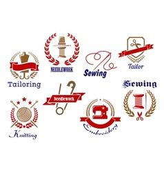 Retro needlework emblems icon set vector