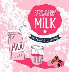 Strawberry milk graphic design with stylish milk vector