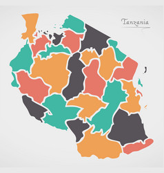 Tanzania map with states and modern round shapes vector