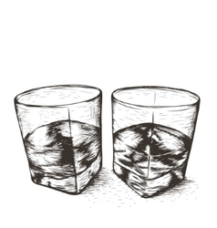 Two glasses with liquid vector