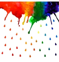 Watercolor rainbow gradient stain with drops vector image