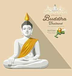 White Buddha and yellow robe of Thailand vector image vector image