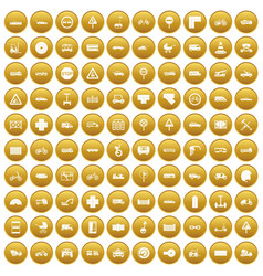 100 road icons set gold vector