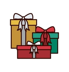 Christmas gift decorated with ribbon vector