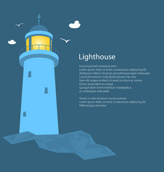 Lighthouse at seaposter brochure vector